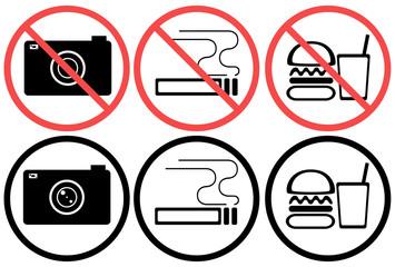 アイコン素材 カメラ撮影 喫煙 禁煙 飲食 マーク 禁止マーク 利用 利用禁止 イラスト 注意