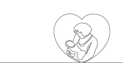 Vector illustration of mother holding her baby in heart shaped.