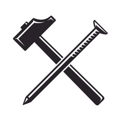 Vintage, monochrome Icon, crossed hammer and nail, joiner's tools. Vector illustration, isolated on white background. Simple shape for design logo, emblem, symbol, sign, badge, label, stamp.
