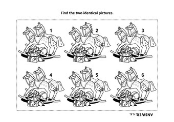 IQ training visual puzzle and coloring page with holiday presents: Find the two identical images. Answer included.