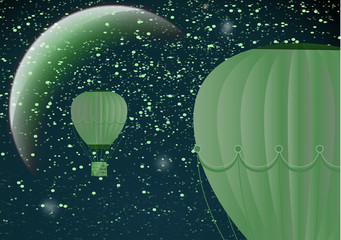Large balloon on a dark night cosmic background with planets and bright stars. Fantasy. Vector illustration