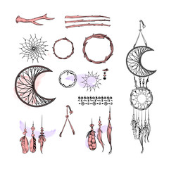 Set of Dreamcatcher. Design elements in Boho style isolated on white background. Native style. Tattoo design. Vector.