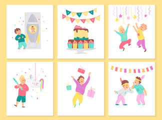 Vector collection of boys birthday party cards with bd cake, garlands, decor elements and happy kids characters. Flat cartoon style. Good for invitation, tags, posters etc.