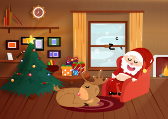 Christmas, Santa Claus sleeping with reindeer in home, flat interior, good night poster, postcard, winter holiday season background vector illustration