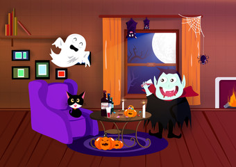Halloween, costume cartoon, vampire, spider, bat and spooky, interior home, night party, postcard, celebrate season background vector