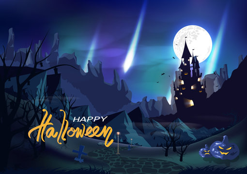 Halloween, fantasy castle, vintage poster aurora of north pole concept, invitation card, graveyard, wasteland, horror story abstract background vector illustration