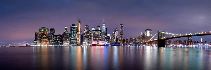 New york city skyline notturna panoramica, Stati Uniti  Wall mural
