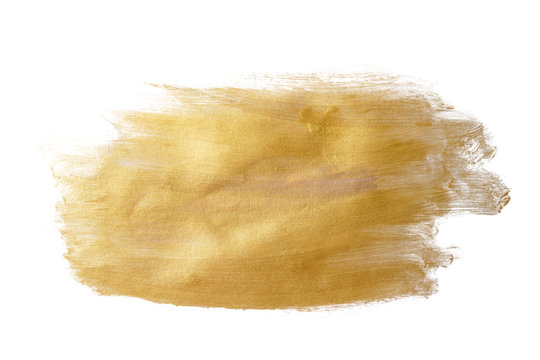 gold yellow paint stain on white background isolated. hand drawing.