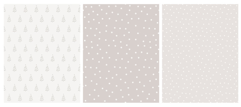 Cute Infantile Style White Christmas Trees and Stars Vector Pattern. White and Warm Gray Simple Design. Gray and White Background. Abstract Forest Illustration.