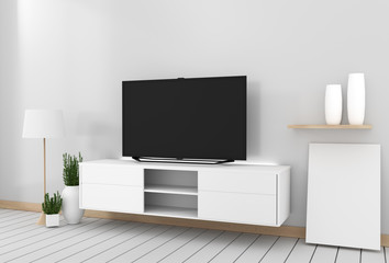Smart Tv Mockup with blank black screen hanging on the cabinet decor, modern living room zen style. 3d rendering