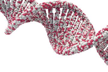 DNA Struktur 3D Spiral Pink Rendering mit Hintergrund weiß- Wissenschaft (isolated white background)