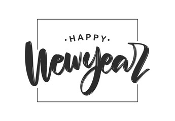 Handwritten textured brush lettering composition of Happy New Year on white background.