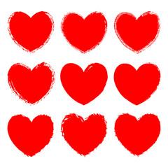 Vector set of monochrome red grunge art hearts