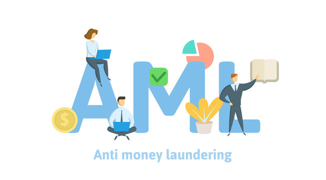 AML, Anti money laundering. Concept with keywords, letters and icons. Colored flat vector illustration on white background.