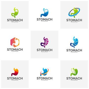 Set of Stomach Logo Template Design Vector, Stomach Care logo Design Concept Vector