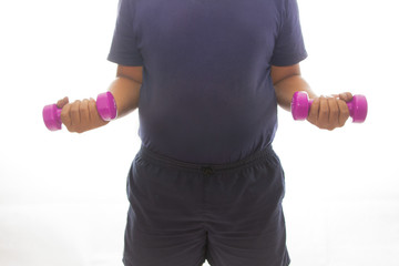 Concept fitness for fat man, fat man shows his muscle while holding dumbbell in hand