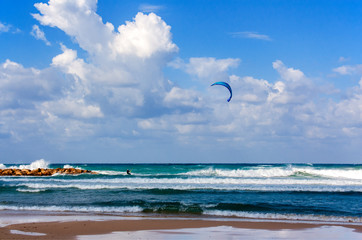 Perfect weather on the Mediterranean sea for kitesurfing