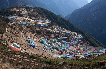 Namche Bazaar view from above in Sagarmatha National park, Nepal