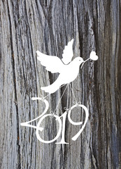 Dove that flies away with the numbers of 2019