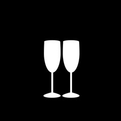 Vector white silhouette of couple champagne glasses on black background.