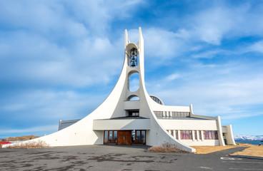 Stores à enrouleur Edifice religieux Stykkisholmur church on hill, Iceland