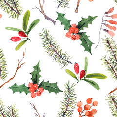 Winter watercolor Christmas seamless pattern with tree branches and berries.