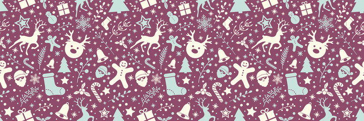 Christmas wrapping paper with ornaments and seamless pattern. Vector.