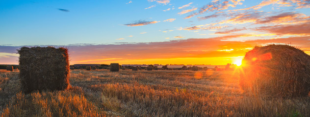 Panoramic view of hay bales on the field after harvesting illuminated by the last rays of setting sun