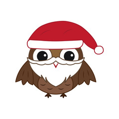 Canvas Prints Owls cartoon Vector cute Christmas owl with beard and red hat