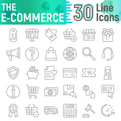 E-commerce thin line icon set, shopping symbols collection, vector sketches, logo illustrations, buy signs linear pictograms package isolated on white background.