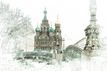 Stylized by watercolor sketch painting of Church of the Savior on Blood, St Petersburg, Russia, on a textured paper. Retro style postcard collage.