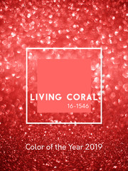 Inscription Living Coral color. Gradient glitter bokeh & sparkles abstract background. Color of the Year 2019. Vertical.