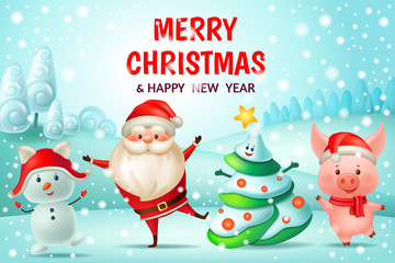 Chinese new year 2019. Dance pig, Santa Claus, snowman and fir-tree. 3d vector cartoon illustration.