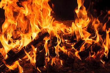burning wood in a fireplace. Closeup view