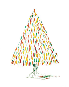 Abstract whimsical Christmas tree. The dabbing technique near the edges gives a soft focus effect due to the altered surface roughness of the paper..