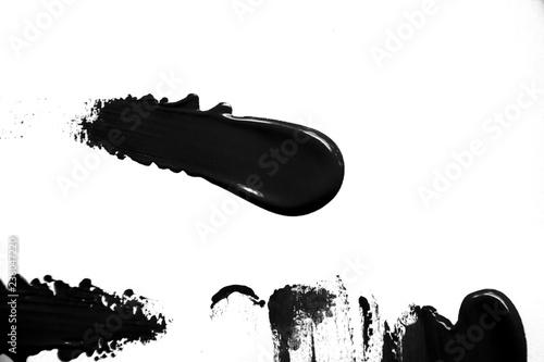 black paint brush spot stroke on white