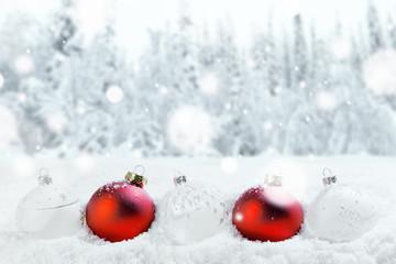 Christmas balls and snow