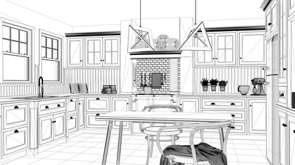 Interior design project, black and white ink sketch, architecture blueprint showing classic kitchen with dining table and chairs, windows and morning light, contemporary architecture
