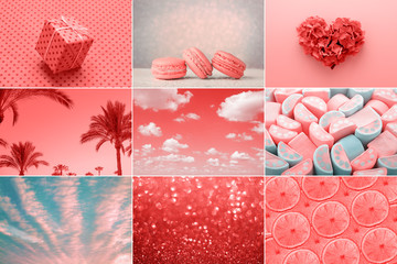 Trendy creative collage in Living Coral color of the Year 2019. Love heart, sweet, holiday gift, fashion.