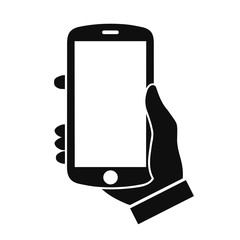 Human hand holding smartphone. Phone holding flat icon - stock vector