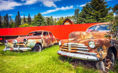 Prince George British Columbia Canada on June 15, 2018 Old Cars on the Roadside