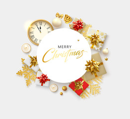 Merry Christmas greeting card with clock, top view gifts and holiday decorations.