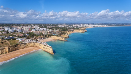 Aerial. Beautiful Portuguese beaches Armacao de Pera, view from the sky.