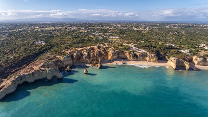 Aerial. Beautiful Portuguese beaches Marinha, Albufeira view from the sky.