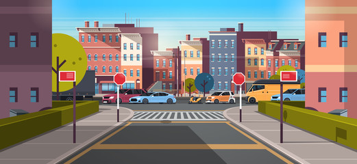 city street building urban traffic cars on road downtown early morning sunrise horizontal banner flat Wall mural