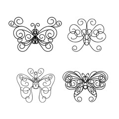 Abstract calligraphic butterfly symbol icon line art with hand drawing vintage calligraphy style