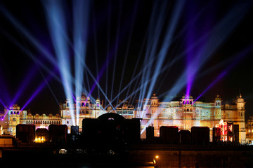 A view of the illuminated City Palace, one of the venues for the pre-wedding celebrations of Isha Ambani, daughter of the Chairman of Reliance Industries Mukesh Ambani, is seen in Udaipur