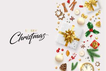 White Merry Christmas card with gifts and colorful holiday pattern.