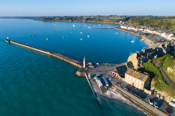 aerial view to pier and harbor in France