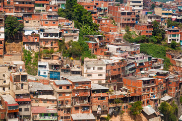 close up above view of shanty town and slums with daylight in south american city